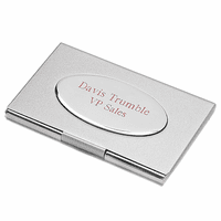 Silver Tone Engraved Business Card Holder with Oval Plate