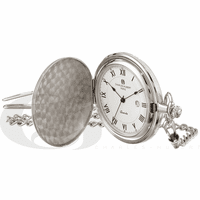 Silver Tone Quartz Charles Hubert Pocket Watch & Chain #3940