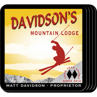 Ski Lodge Coaster Set - Free Personalization