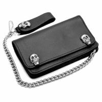 Skull Theme Biker Wallet with Chain