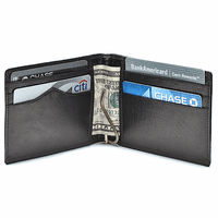 Slim Bifold Leather Wallet with Money Clip