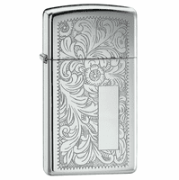 Slim Polished Chrome Venetian Zippo Lighter