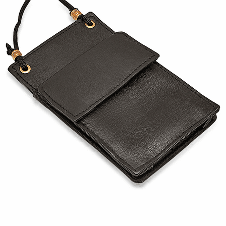 Small  Leather ID Holder With Neck Strap