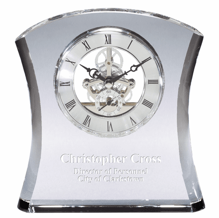 Solid Crystal Personalized Quartz Clock With Concave Sides