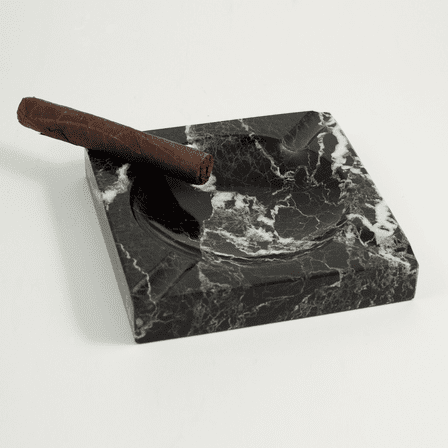 Solid  Marble  Square  Ashtray  -  Black