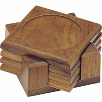 Solid Walnut 4 Piece Coaster Set with Holder
