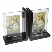 Solid Wood & Glass Picture Frame Bookends