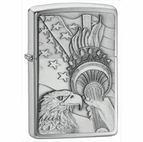 Something Patriotic Emblem Brushed Chrome Zippo Lighter - ID# 20895