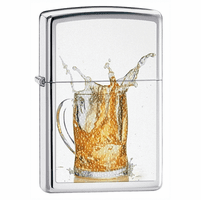 Splashing Beer High Polish Chrome Zippo Lighter - ID# 28293 - Discontinued