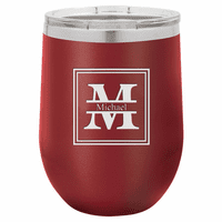 Split Monogram 12 Ounce Maroon Insulated Stemless Wine Glass
