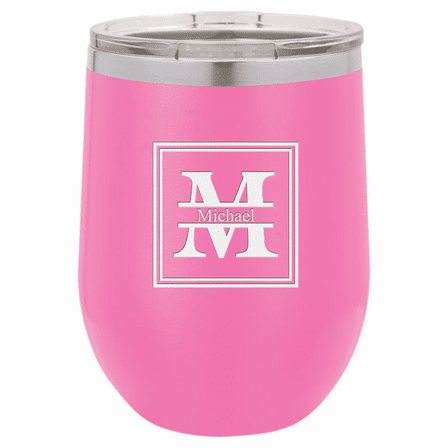 Split Monogram 12 Ounce Pink Insulated Stemless Wine Glass