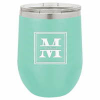 Split Monogram 12 Ounce Teal Insulated Stemless Wine Glass