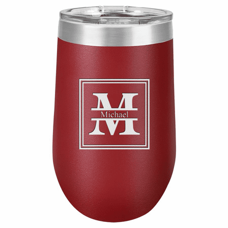Split Monogram 16 Ounce Maroon Insulated Stemless Wine Glass