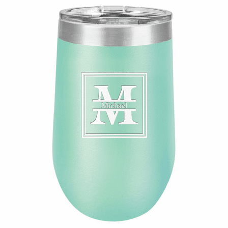 Split Monogram 16 Ounce Teal Insulated Stemless Wine Glass
