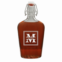 Split Monogram  17 Oz Vintage Glass Flask