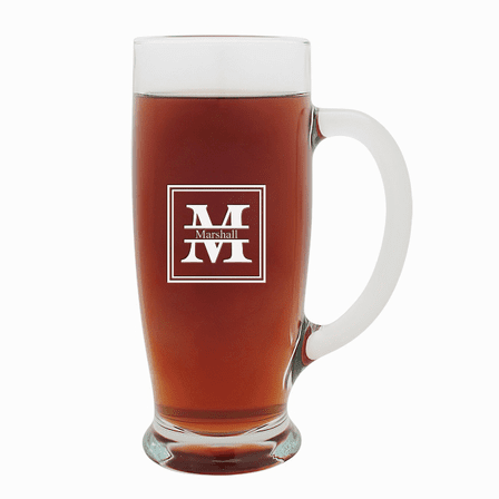 Split Monogram   18 Ounce Pilsner Glass with Handle
