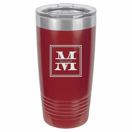 Split Monogram 20 Ounce Maroon Polar Camel Travel Mug