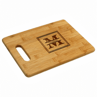Split Monogram  Bamboo Cutting Board With Handle