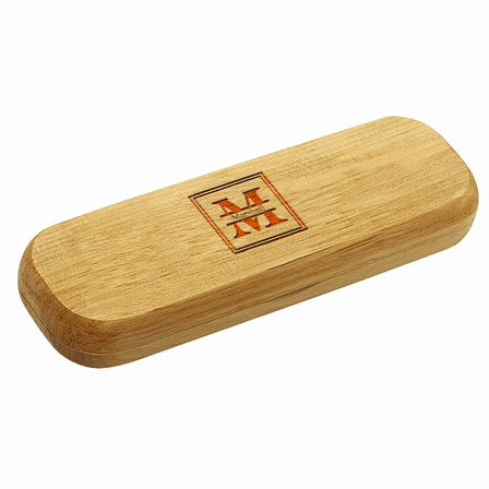 Split Monogram Bamboo Engraved Wood Pen and Box