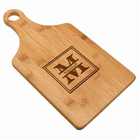 Split Monogram  Bamboo Paddle Shape Cutting Board