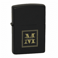 Split Monogram  Black Matte Engravable Zippo Lighter - Free Engraving - ID# 218
