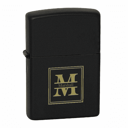Split Monogram  Black Matte Zippo Lighter