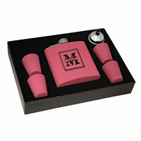 Split Monogram   Pink Flask & Shot Cups Gift Set - Free Engraving