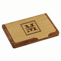 Split Monogram   Pocket/Desktop Business Card Holder - Free Engraving