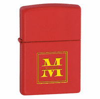 Split Monogram Red Matte Zippo Lighter
