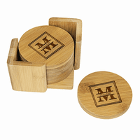 Split Monogram   Round Bamboo Coaster Set