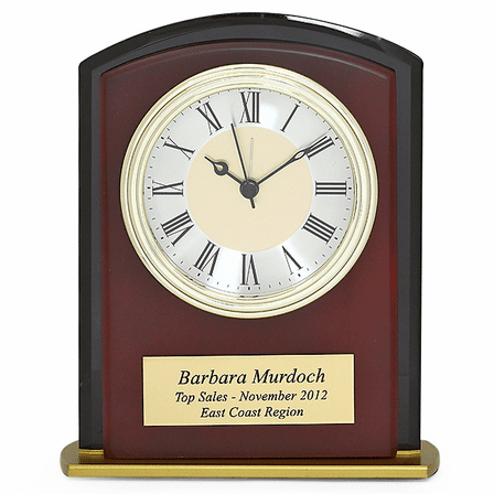 Square Arch Mahogany Finish & Black Glass Personalized Desk Clock