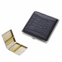 Square Black Leather King Size Cigarette Case