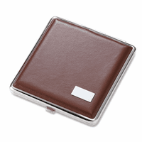 Square Brown Leather Cigarette Case for Kings
