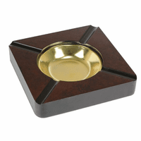 Square Burl Wood Four Cigar Ashtray