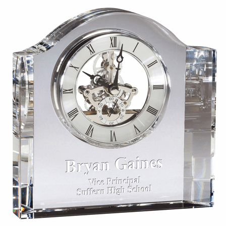 Square Crystal Personalized Quartz Clock With Arched Top