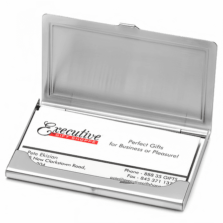 Stainless Steel Criss Cross Pattern Business Card Case