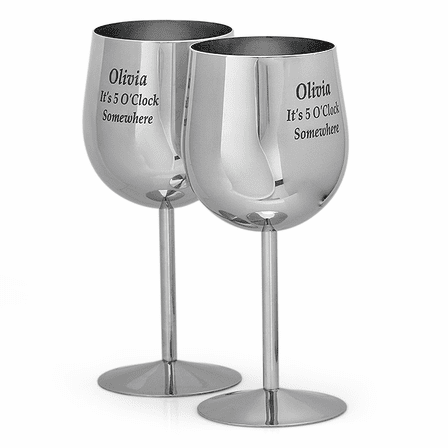 Stainless Steel Wine Glass Set Of 2 - Discontinued