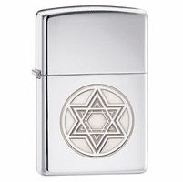 Star of David High Polish Chrome Zippo Lighter - ID# 28288 - Discontinued