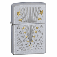 Stars and Stripes Satin Chrome Zippo Lighter - ID# 28277 - Discontinued