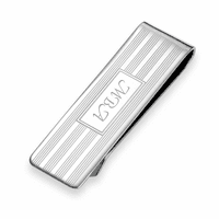 Step Collection Sterling Silver Engraved Money Clip - Slim Width