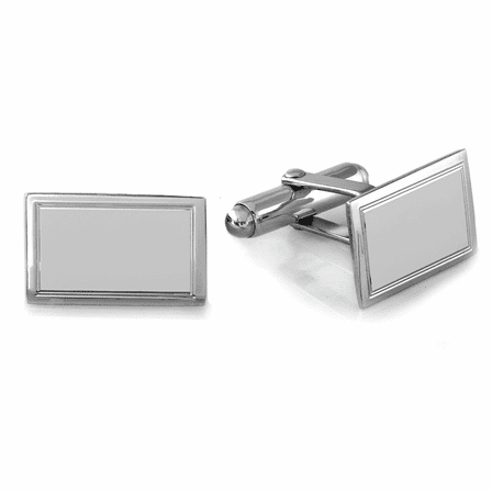 Sterling Silver Border Collection Engravable Cufflinks - Discontinued