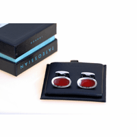 Sterling Silver & Carnelian Swing Collection Cufflinks by Tateossian