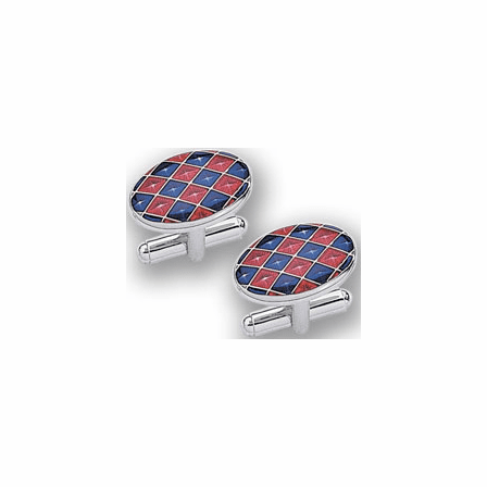 Sterling Silver Eurolinks Collection Blue & Red Checkerboard Pattern Cuff Links