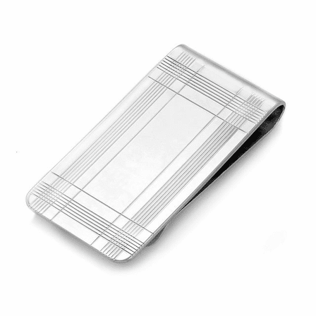 Sterling Silver Extra Wide Tartan Plaid Engraved Money Clip