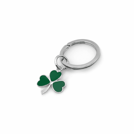 Sterling Silver & Green Lacquer Shamrock Design Key Ring