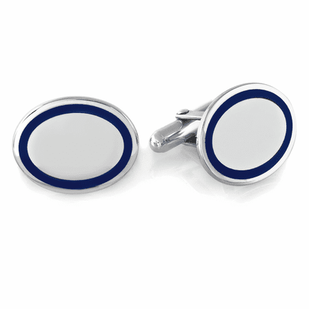 Sterling Silver Navy Border Oval Engravable Cufflinks - Discontinued