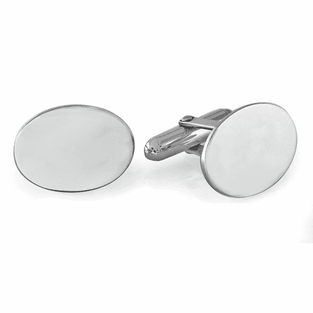 Sterling Silver Oval Engravable Cufflinks