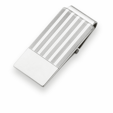 Sterling Silver Pinstripe Engravable Money Clip with Hinged Grip - Discontinued
