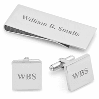 Streamline Collection Engraved Money Clip & Cufflinks Gift Set