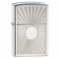 Sunburst Dual Engraved High Polish Chrome Zippo Lighter - ID# 24674 - Discontinued